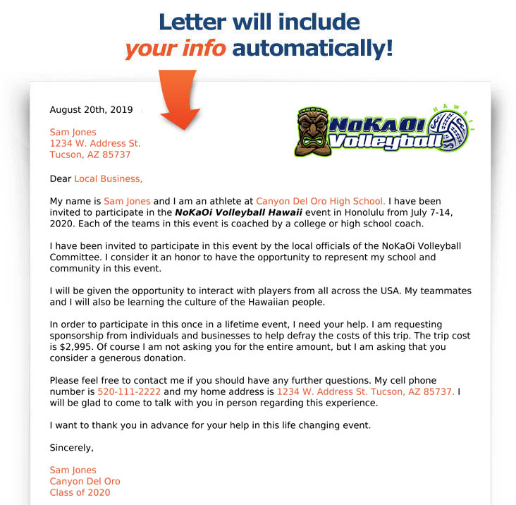 Fundraising Letter - No Ka Oi Volleyball Showcase