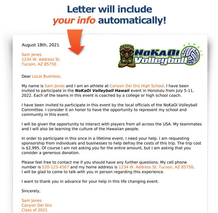 Example NoKaOi Fundraising Letter